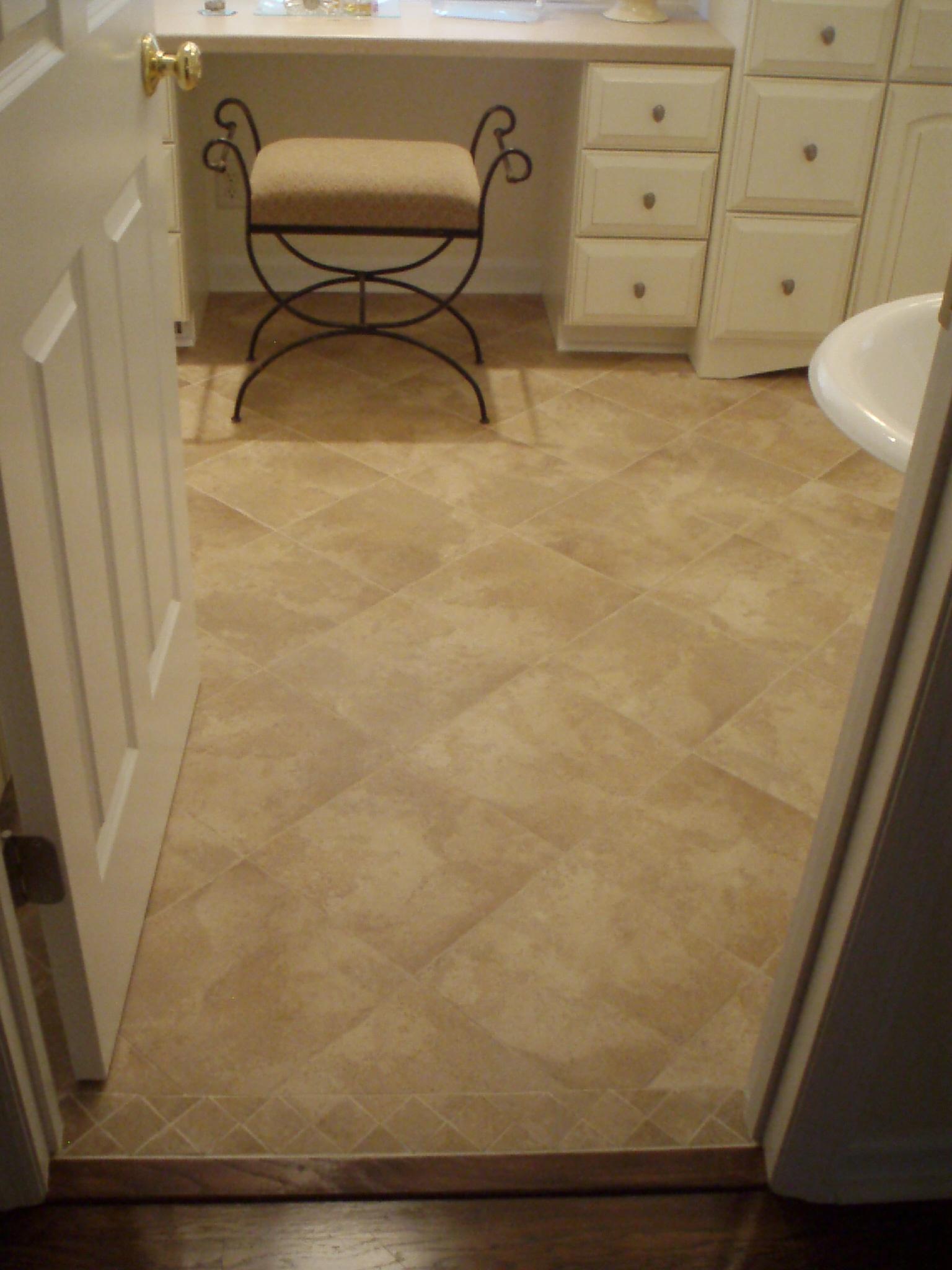 Travertine Floor Inlays : Tile door threshold finally